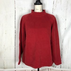 J crew vintage roll neck cotton sweater red L